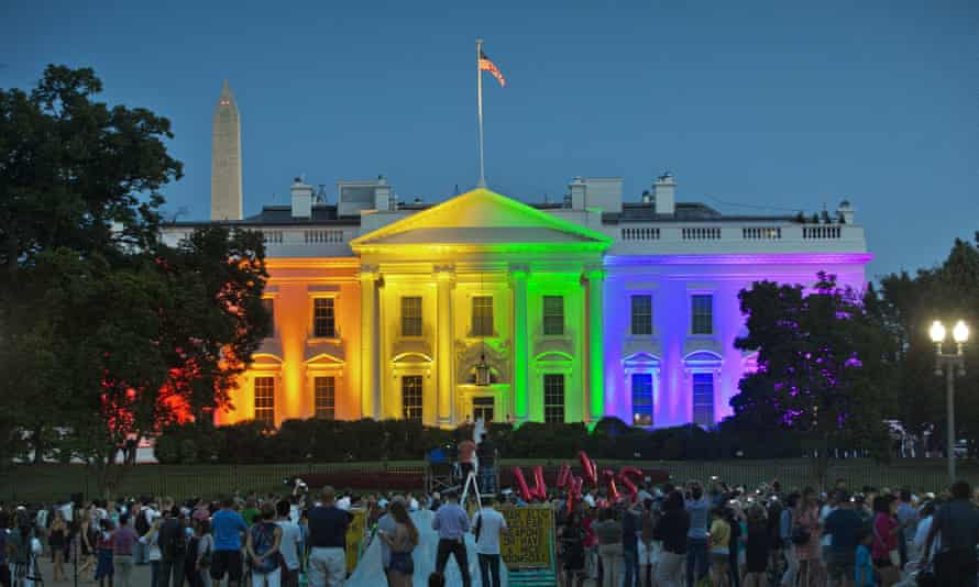 The White House was lit with rainbow colours to commemorate the supreme court's ruling to legalise same-sex marriage across the US.