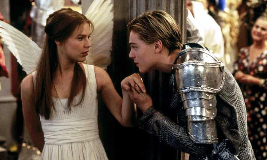 Claire Danes and Leonardo DiCaprio in Baz Luhrmann's 1996 film Romeo + Juliet.