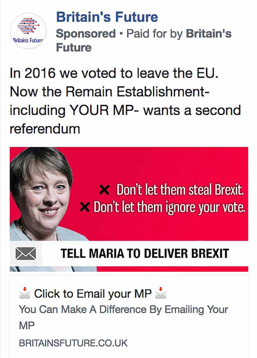 A Britain's Future ad targeting constituents of Maria Eagle.