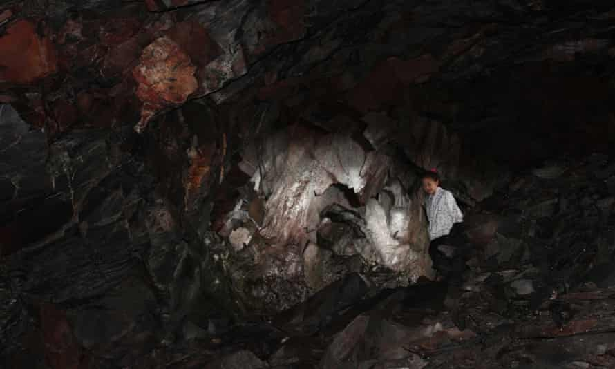 Little girl in the cave in Borrowdale where Millican Dalton once lived.