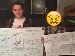 This is Keith and his roommate, Mark, who designed an aircraft while wasted – and didn't want to be identified.
