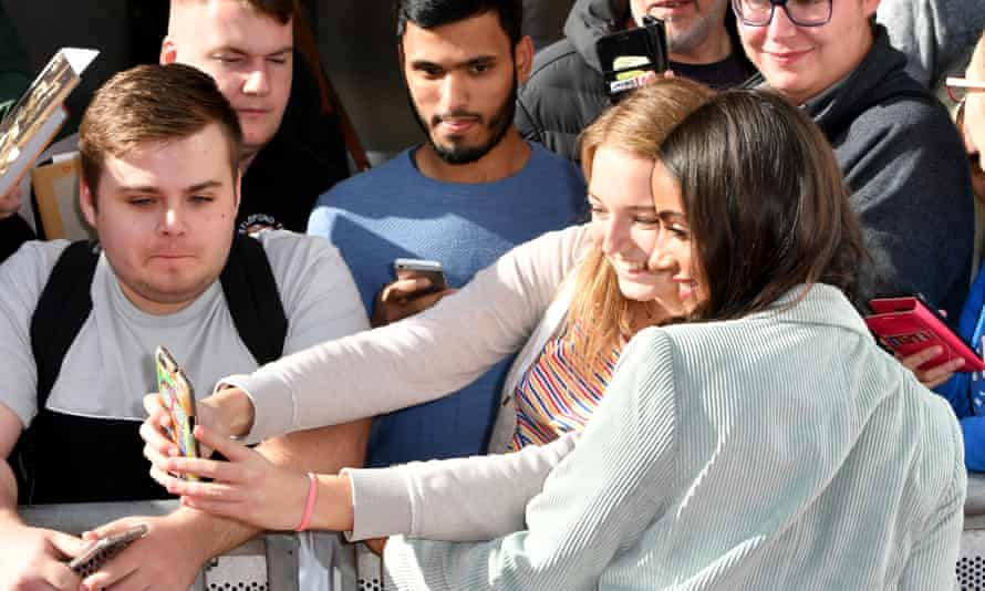 Mandip Gill, who plays Yasmin, posing with fans outside the premiere.