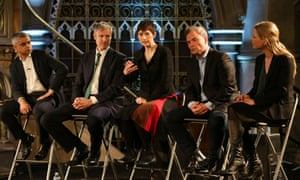 Labour candidate Sadiq Khan, Conservative candidate Zac Goldsmith, Liberal Democrats candidate Caroline Pidgeon, UKIP candidate Peter Whittle and Green candidate Sian Berry during The London Debate with LBC and ITV News at The Union Chapel in London.