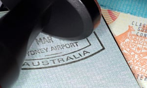 Australian immigration stamp with passport and visa