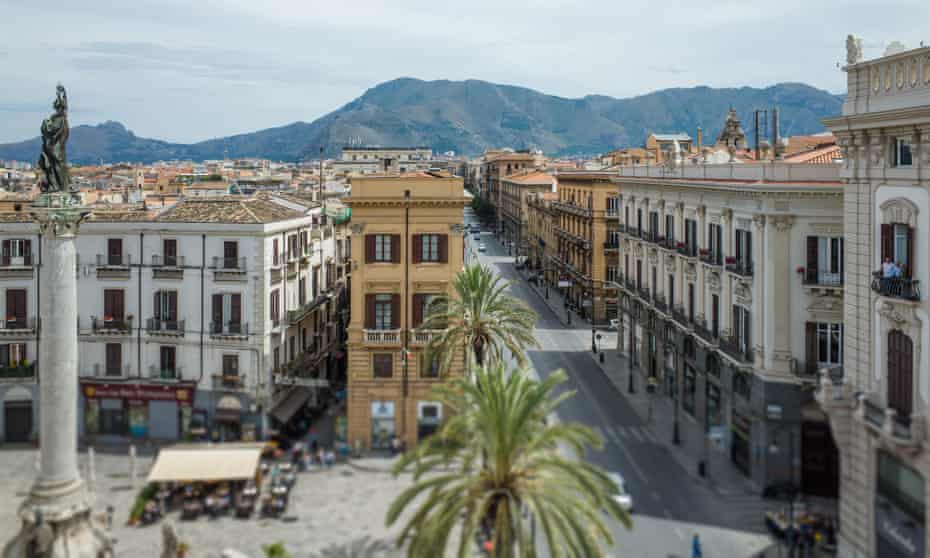 Rooftop view of Piazza San Domenico in Palermo, Sicily