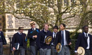 Students at Harrow School. Overall, foreign students make up only 5% of the independent school student body.
