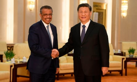WHO director-general Adhanom Ghebreyesus with Chinese President Xi Jinping in Beijing on 28 January 2020.