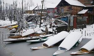 Dal Lake, Srinagar. Kashmir received avalanche warnings at the start of February.
