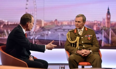 A shot across the bows ... General Sir Nicholas Houghton on The Andrew Marr Show. Photograph: Jeff Overs/BBC/PA Wire