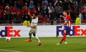 Atletico Madrid's Gabi scores their third goal