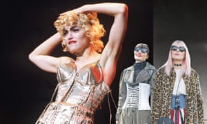 Letting loose … Madonna in a Jean-Paul Gaultier corset and street style stars.