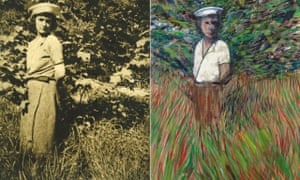 Diana Watson as photographed by Bacon at Byland Abbey, Yorkshire, 1938, and his painting of her, Figure in a Landscape, 1957.