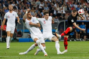 Kyle Walker and John Stones combine to block a Croatian shot from Ante Rebic