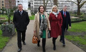 Mary Lou McDonald and Sinn Féin's Stormont leader, Michelle O'Neill, arrive for a press conference in London