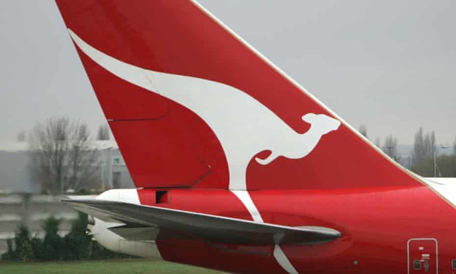 Tail of Qantas plane