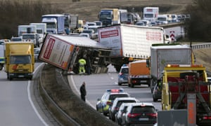 An accident on the A71 motorway near Erfurt.