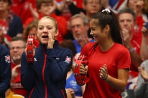 Raducanu with Katie Swan on the sidelines of a Fed Cup match at University of Bath in 2019
