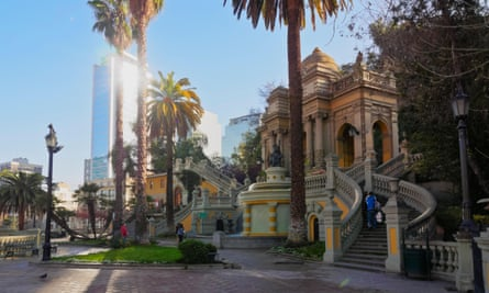 The Neptune fountain and terrace on Santa Lucia Hill, central Santiago.