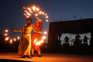 A fire show at the 2017 Great Bolgar Medieval Fighting festival in Tatarstan, Russia