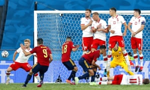 Gerard Moreno of Spain takes a free kick.