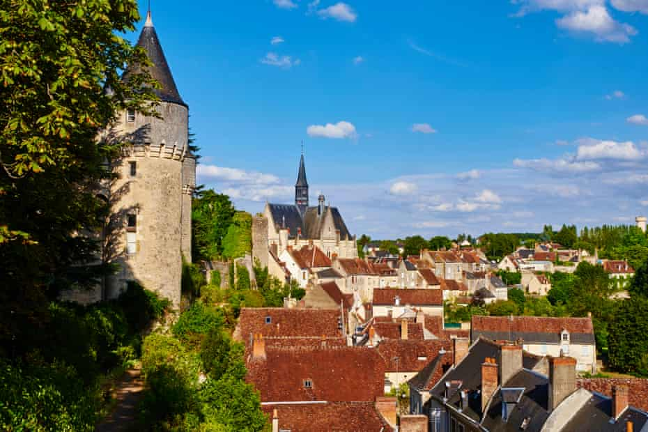 Montresor, Loire Valley, rooftops and tower of castle