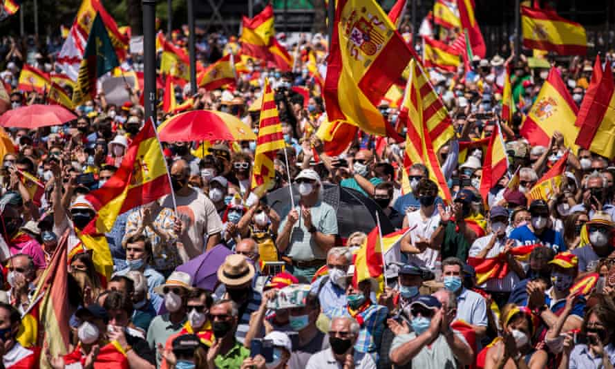 Thousands of protesters in Madrid made their feelings clear following reports that 12 convicted Catalan politicians are to be pardoned.