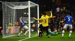 Leighton Baines fails to stop Stefano Okaka from scoring their third goal.