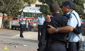 Israeli police at the scene of a stabbing attempt in Jerusalem
