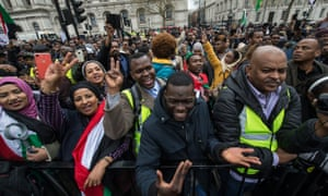 British Sudanese protesters in London earlier this year.