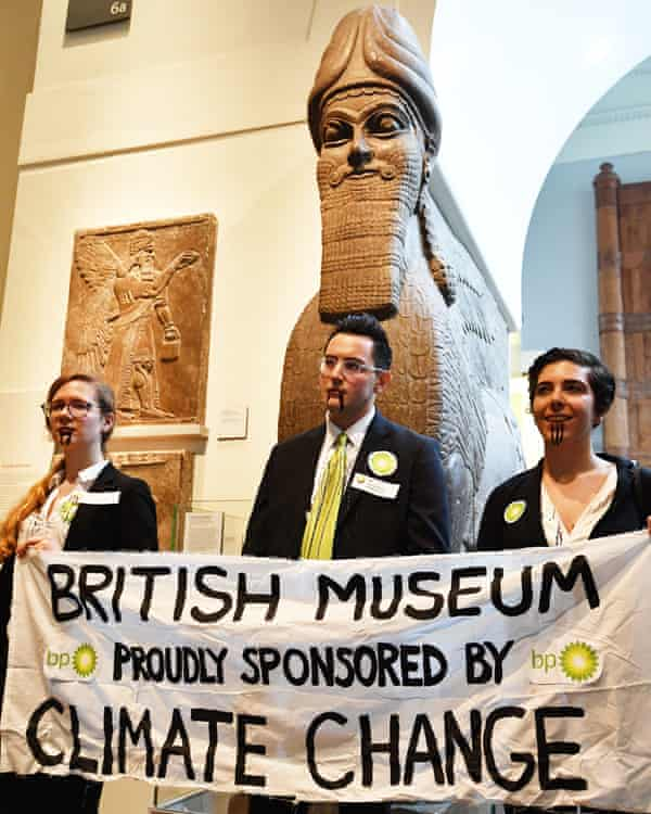 Activists from the pressure group BP or not BP protest inside the British Museum in London against BP's sponsorship of the exhibition I am Ashurbanipal: king of the world, king of Assyria.