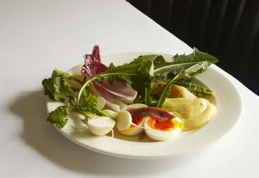Sessions Arts Club's petit aïoli: 'Soft-boiled egg with anchovy, pink fir potato and mixed leaves sent me a bit bonkers.'
