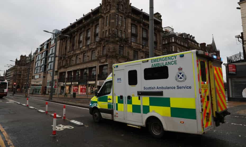 An ambulance in Prince Street, Edinburgh