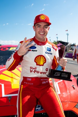 Scott McLaughlin, driver of the #17 Shell V-Power Racing Team Ford Mustang celebrates after winning the Darwin Triple Crown.