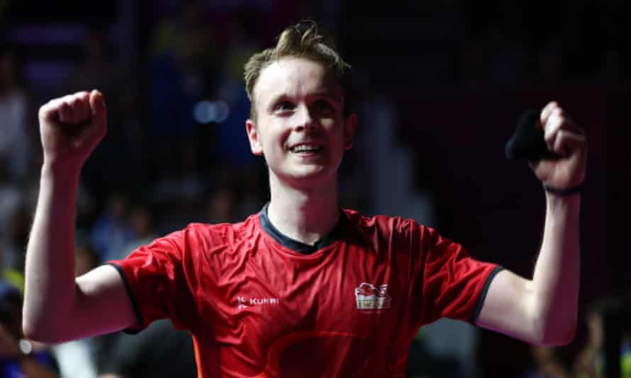 James celebrates after winning gold at the Commonwealth Games on the Gold Coast.