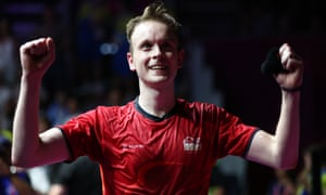 James Willstrop of England celebrates his win against Paul Coll of New Zealand during to take gold in the men's singles squash