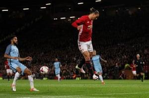 Zlatan Ibrahimovic misses a chance.