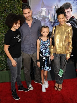 Newton with her husband Ol Parker and daughters Ripley and Nico Parker, 2016.
