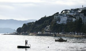 Swimmers stand on a pontoon at Oriental Bay on 13 May 2020 in Wellington, New Zealand.