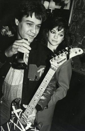 Eddie Van Halen of hard rock band Van Halen with Valerie Bertinelli, circa 1980.