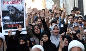 Protesters in Karachi demonstrate against the execution in January of prominent Shia cleric Nimr Baqir al-Nimr by Saudi authorities