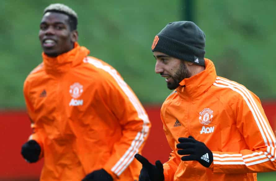 Bruno Fernandes and Paul Pogba at training this week as the team prepare to face Liverpool.
