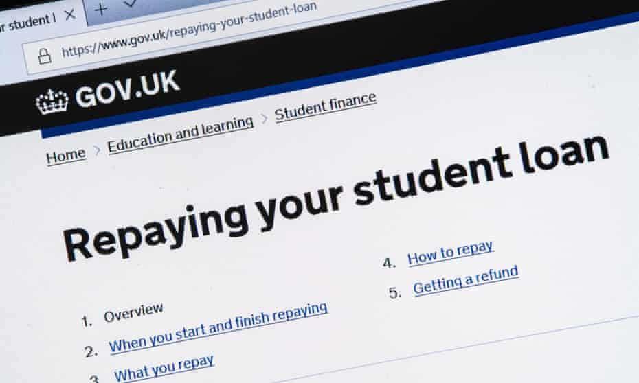 Information on repaying student loans on the gov.uk website.