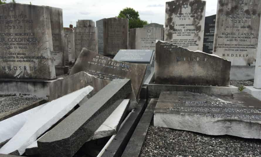 Smashed gravestones at the Jewish cemetery in Charlestown, Manchester.
