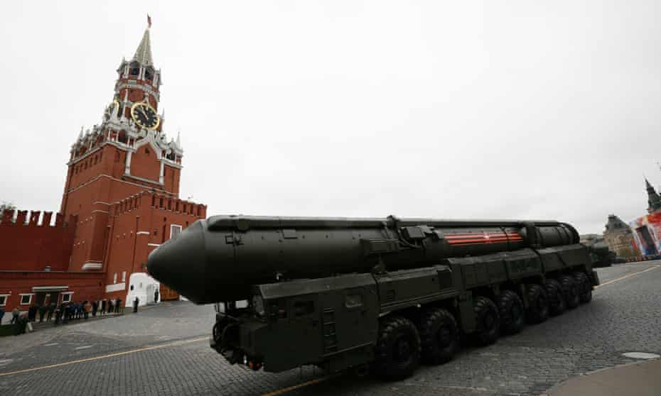 A Russian Topol M intercontinental ballistic missile launcher rolls along Red Square during the 2017 Victory Day military parade to celebrate 72 years since the defeat of Nazi Germany, in Moscow.