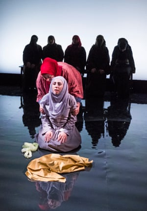 A scene from Queens Of Syria at the Young Vic. A Developing Artists, Refuge Productions and Young Vic co-production. Directed by Zoe Lafferty
