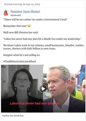 Ad by Liberal senator Jane Hume