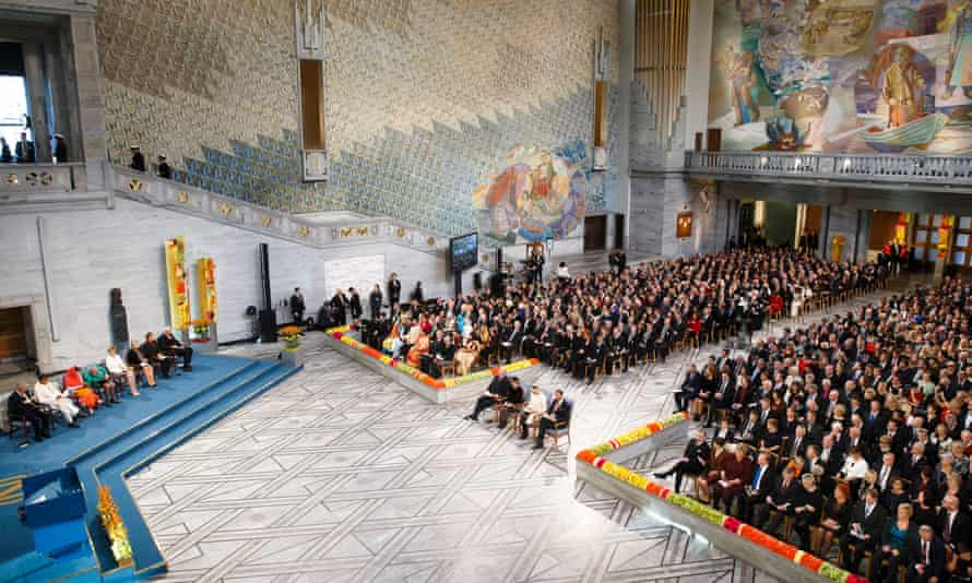 General view of the hall during the Nobel peace prize awards ceremony at Oslo's city hall.