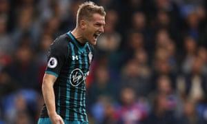 Steven Davis celebrates scoring Southampton's opening goal against Crystal Palace.