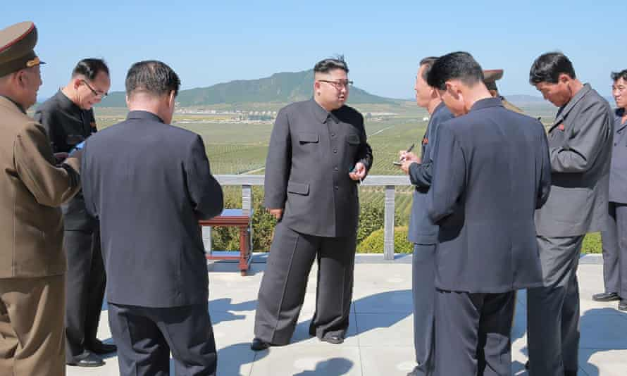 China accounts for 90% of trade with North Korea, led by Kim Jong-un, center.