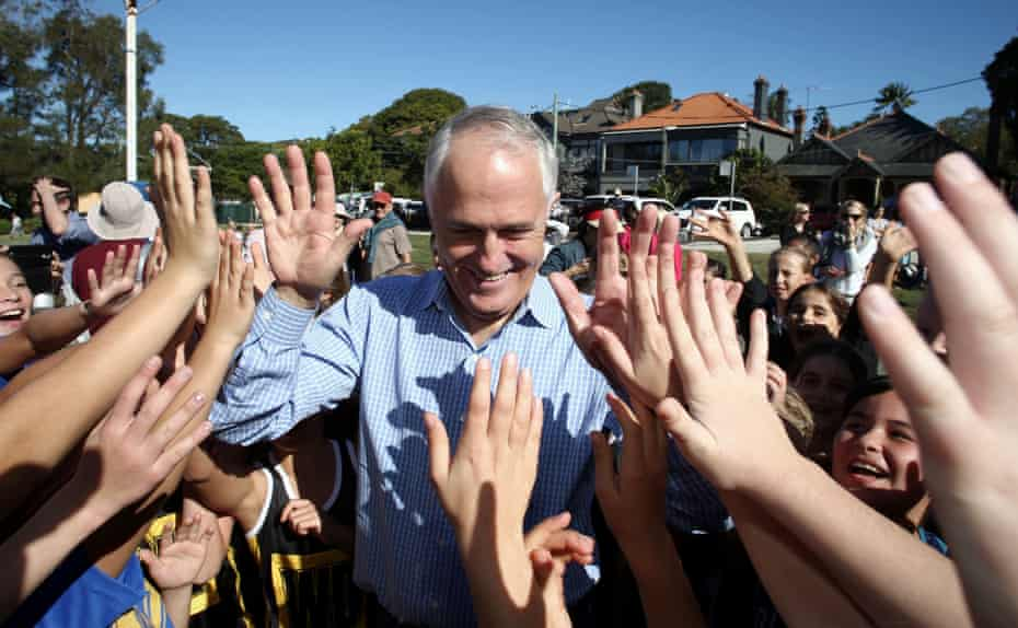 Malcolm Turnbull at a netball competition in Sydney on Saturday